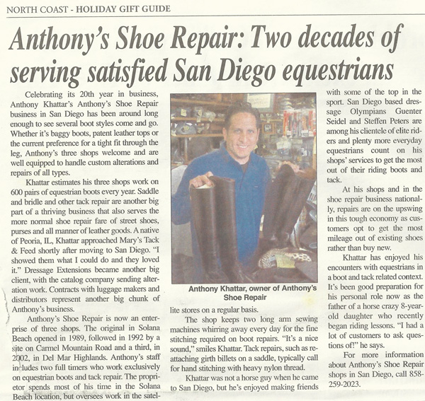 anthonys shoe repair north coast times