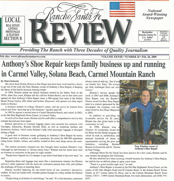 anthonys shoe repair rancho sante fe review